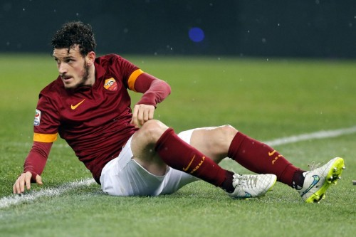 AS Roma's Alessandro Florenzi reacts as he sits on the field during their Italian Serie A soccer match against Empoli in Rome