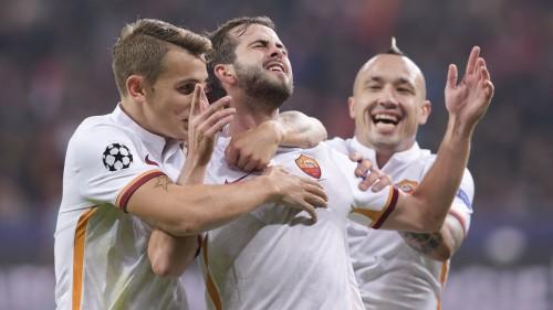 1bayer-roma-pjanic digne 1 gol esultanza nainggolan