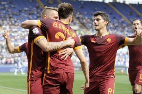 lazio-roma-el shaarawy digne perotti pjanic gol esultanza