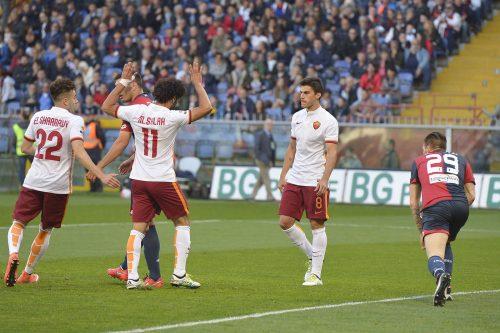 genoa-roma-salah perotti el shaarawy gol esultanza