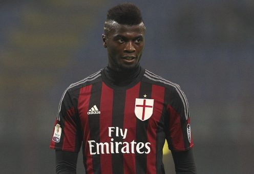 MILAN, ITALY - DECEMBER 01: Mbaye Niang of AC Milan looks on during the TIM Cup match between AC Milan and FC Crotone at Stadio Giuseppe Meazza on December 1, 2015 in Milan, Italy. (Photo by Marco Luzzani/Getty Images)