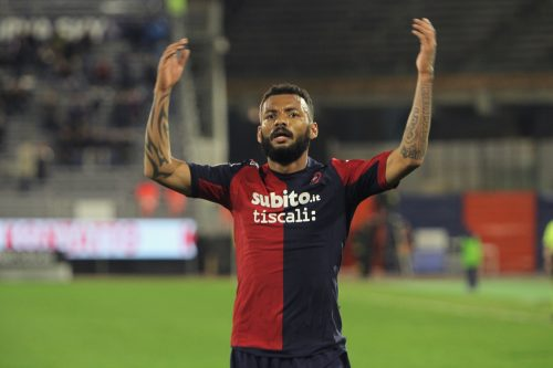 CAGLIARI, ITALY - MARCH 14: Joao Pedro of Cagliari celebrates the goal of 1-0 during the Serie A match between Cagliari Calcio and Empoli FC at Stadio Sant'Elia on March 14, 2015 in Cagliari, Italy. (Photo by Enrico Locci/Getty Images)