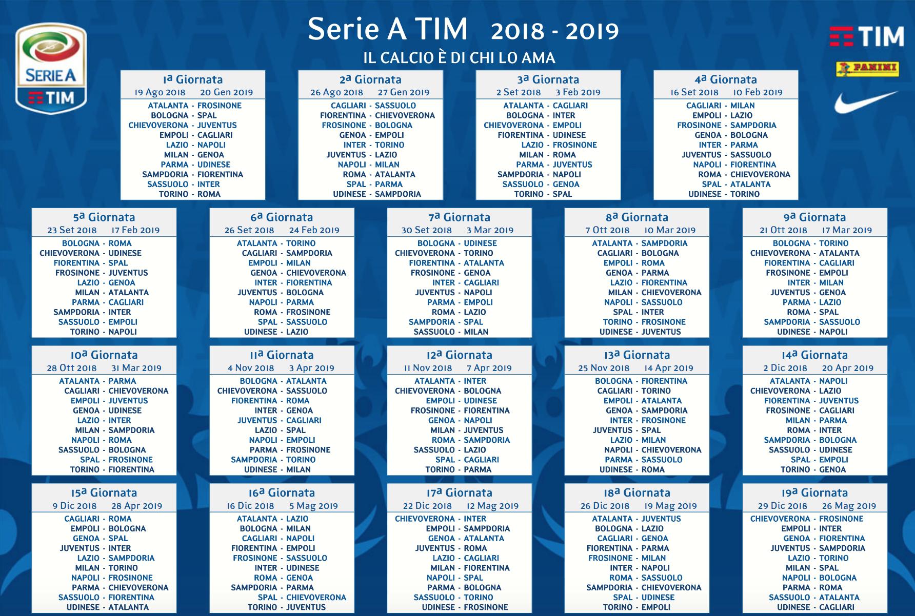 Calendario Roma.Calendario Roma Le Partite Della Roma Nella Stagione 2018